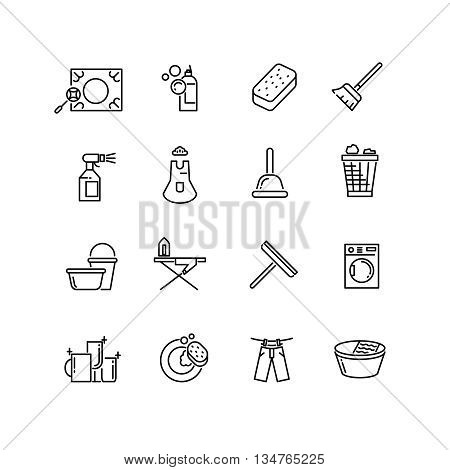 Thin line style cleaning vector icons. Cleaning household, cleaning linear icon, cleaning pictogram illustration