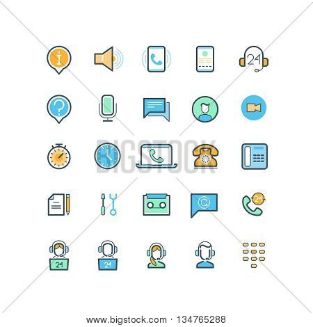 Contact us and support line icons. Phone support, call support, help assistance support, service support communication. Vector illustration