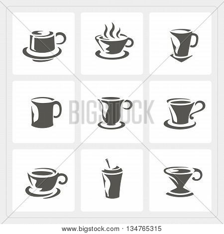 Coffee cup icons set on white background