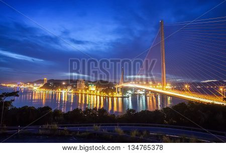 HA LONG, VIETNAM, September 26, 2015 cable-stayed bridge, Bai Chay, Quang Ninh Province, Ha Long, evening