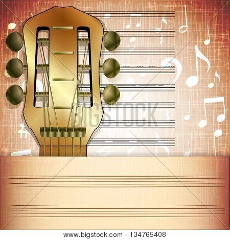 Vector illustration of musical background guitar fingerboard with Music sheet.