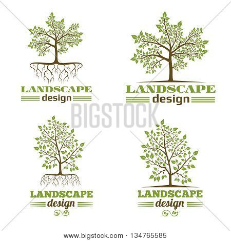 Landscape design company emblems. Tree with roots logo design. Tree landscape design logo, nature landscape design,  organic landscape design. Vector illustration