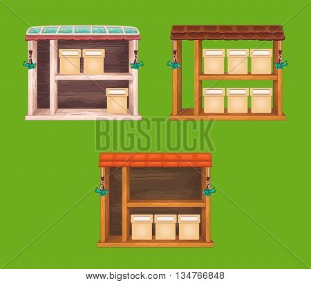 Game wooden store windows set withtile and glass roof