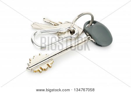 closeup of house keys isolated on white