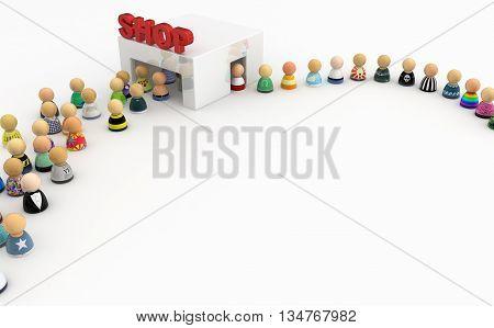 Crowd of small symbolic figures white shop 3d illustration horizontal