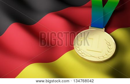 Germany flag and gold medal. 3d rendering.
