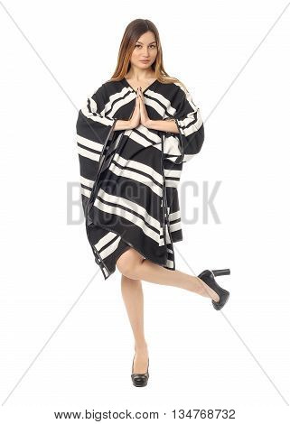 Beautiful Blonde Teenager In Comfortable Poncho Coat Isolated