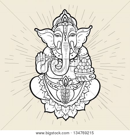 Hindu God Ganesha. Ganapati. Vector hand drawn illustration. Isolated on white background
