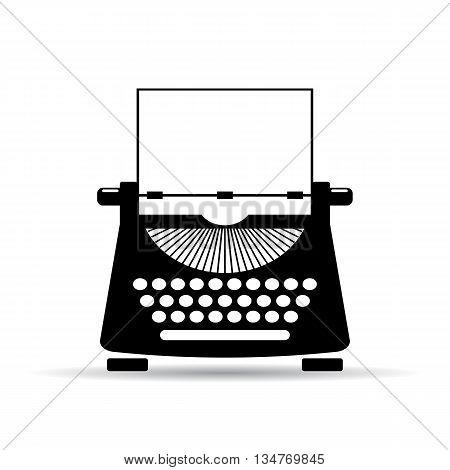 Old typewriter icon isolated on white background
