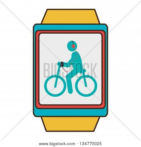 yellow watch with blue and red frame cartoon human riding a bike side vier with headphones over isolated background, vector illustration