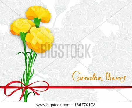 Background template with bouquet of three yellow carnations and silk ribbon with a bow. Vector illustration. Stylized design for backdrop banner and other decoration