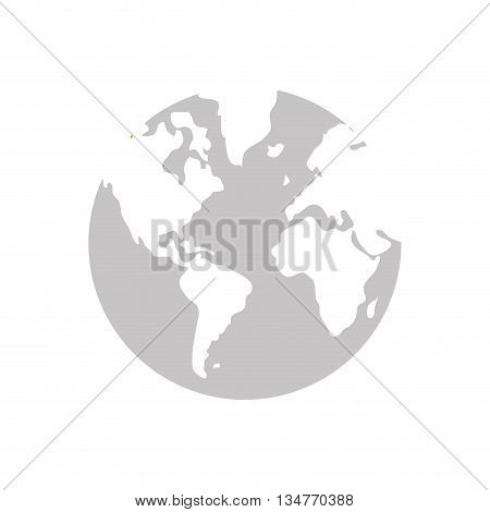 blue and white simple earth globe vector illustration isolated over white