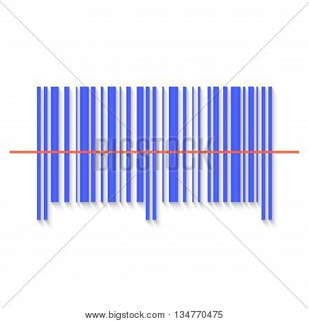 Scanning bar code red laser line. Vector illustration in a flat style.