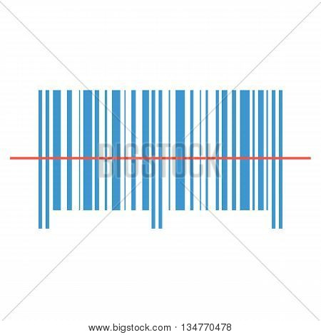 Scanning barcode red laser line on a white background .