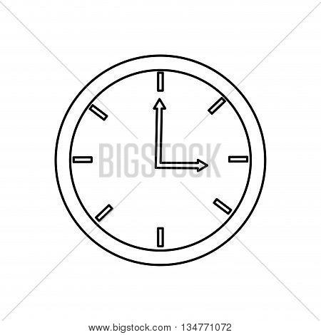 black line analog clock three oclock vector illustration isolated over white