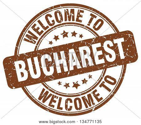 welcome to Bucharest stamp. welcome to Bucharest.