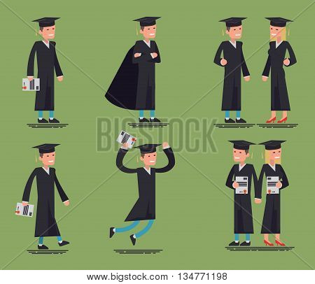 Large vector set of graduate character poses, gestures and actions. graduate of the Institute professional standing, walking, jumping, and more, graduate with diploma, I graduated from college