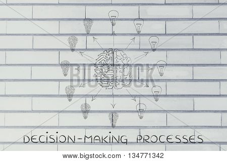 Circuits & Brain Creating Different Idea Lightbulbs, Decision-making Processes