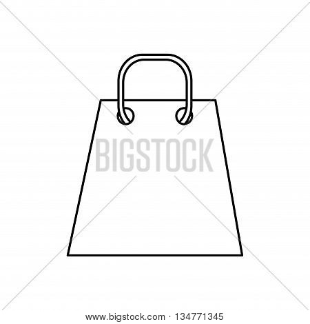 simple black line shopping bag with string handle vector illustration isolated over white