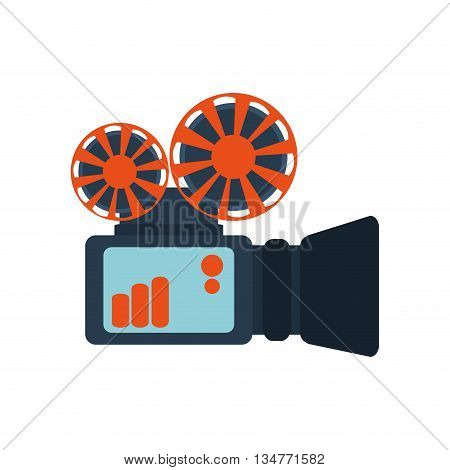 blue and orange reel film projector vector illustration isolated over white