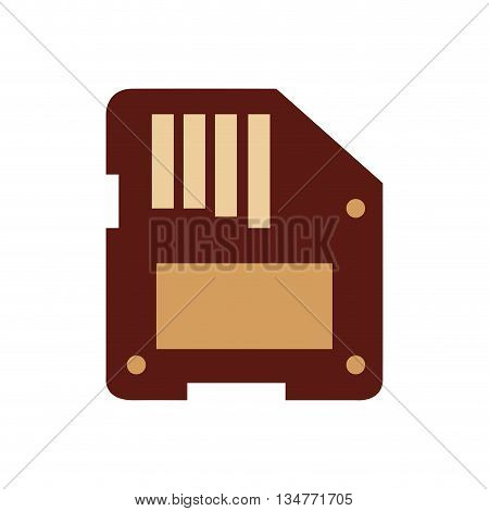 brown floppy disk vector illustration isolated over white