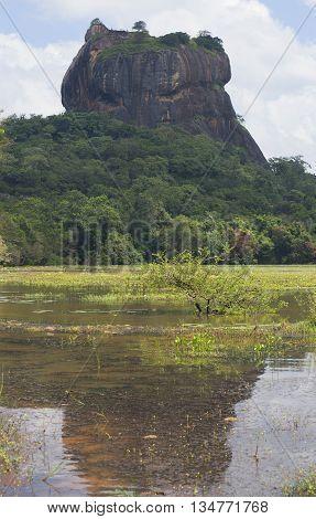 View of Mount Sigiriya from the lake. Sri Lanka