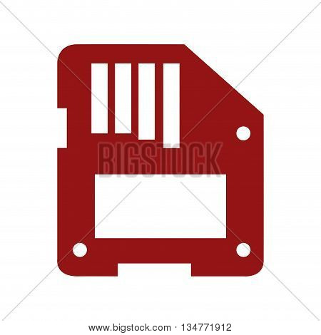 red floppy disk vector illustration isolated over white
