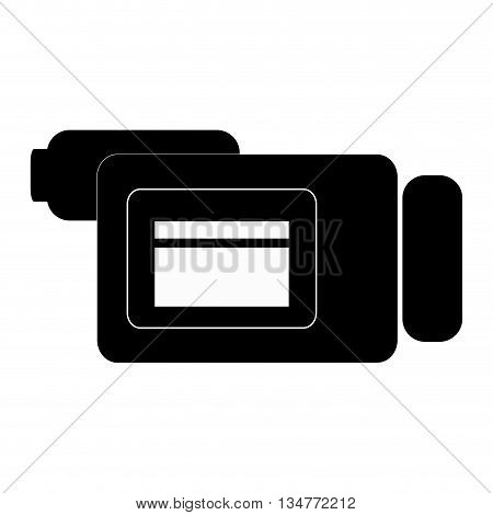 black videocamera sideview vector illustration isolated over white