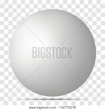 Vector white 3D sphere with realistic shadow and light for logo design concepts web presentations and prints. 3D Vector illustration on transparent background. Simple Template Ball for your Mock-Up Design