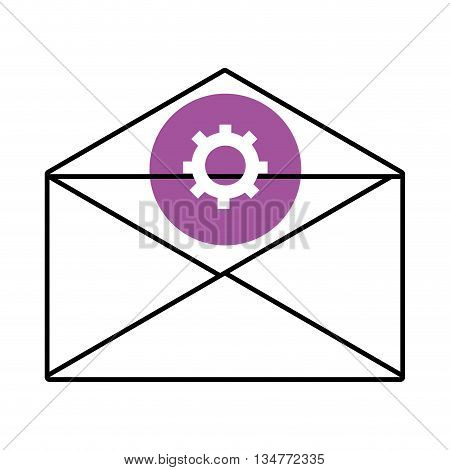 mail envelope with purple circle above and white settings icon over isolated background, vector illustration