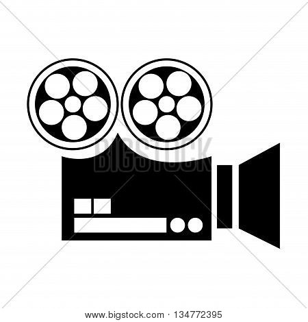 black silhouette film projector sideview vector illustration isolated over white