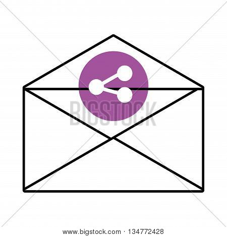mail envelope with purple circle above and white share icon over isolated background, vector illustration