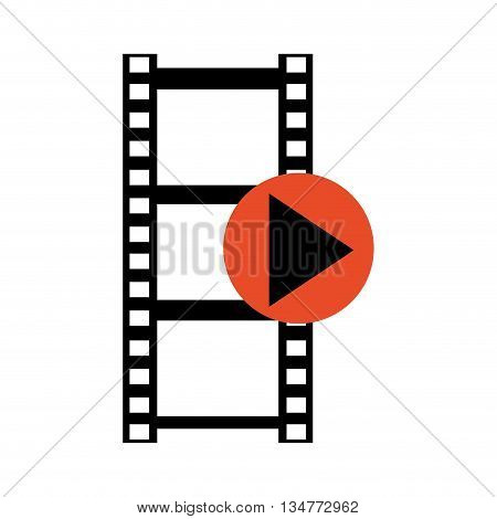 black and white film roll with red play icon in its border isolated over white
