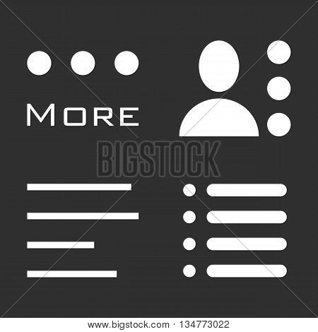 Hamburger Menu Icons Set. Bar Line Symbols Collection. Vector Illustration white signs on black background. White and black image.
