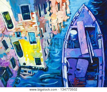 Original oil painting on canvas.Beautiful reflections in the canals of Venice with purple boat.
