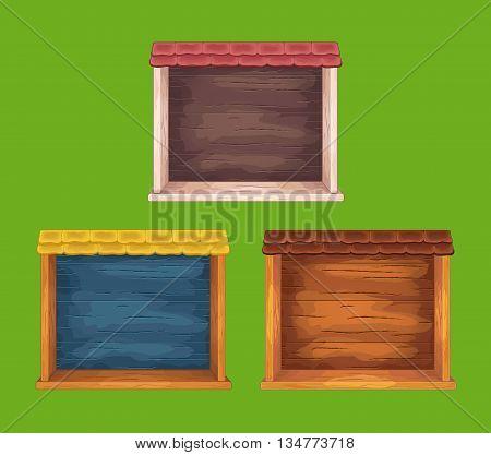 Set of game wooden shelf windows set