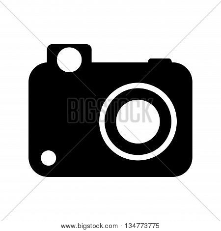 simple black photographic camera withe lens, flash and button vector illustration isolated over white