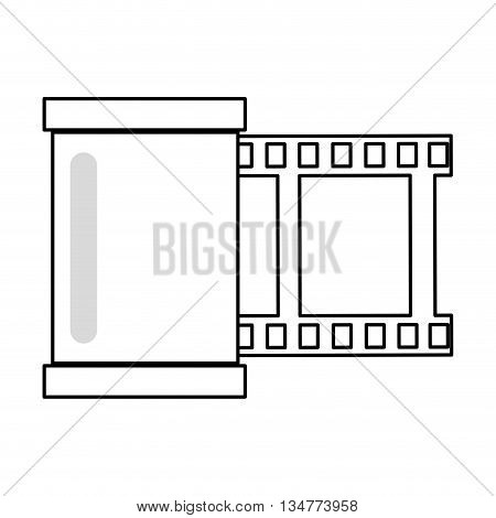 simple black line photographic film roll vector illustration isolated over white