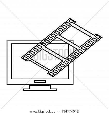 simple black line computer monitor with film roll on top corner vector illustration isolated over white
