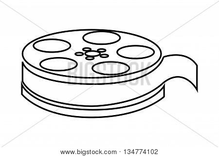 simple black line film reel vector illustration isolated over white