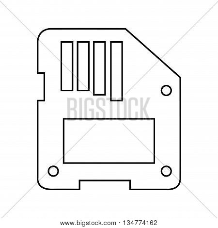 simple black line floppy disk vector illustration isolated over white