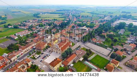 Aerial view of the center of Minerbe Verona Italy.
