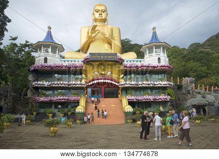 DAMBULLA, SRI LANKA - MARCH 14, 2015: Golden temple in Dambulla. Religious landmark of the Sri Lanka