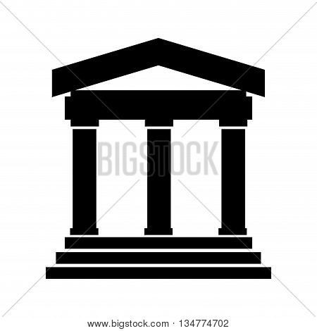 black ancient greek or roman building with 3 pillars and 3 steps vector illustration isolated over white