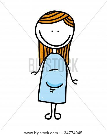 drawing pregnant woman isolated icon design, vector illustration  graphic