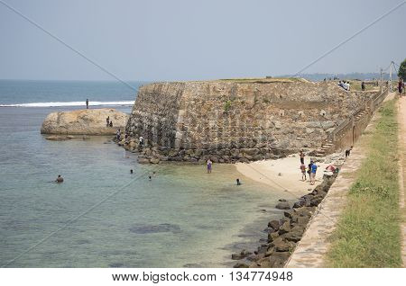 GALLE, SRI LANKA - MARCH 22, 2015: The Triton bastion of the ancient sea fortress. Historical landmark of the city Galle, Sri Lanka