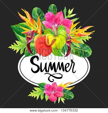 Floral illustration with tropical flowers and plants on black background. Composition with palm leaves anthurium and strelitzia.