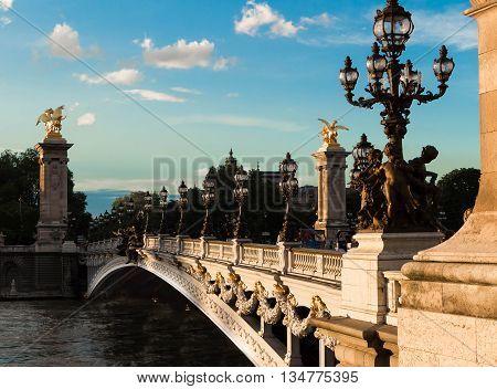 The famous  bridge Alexandre III Paris France.