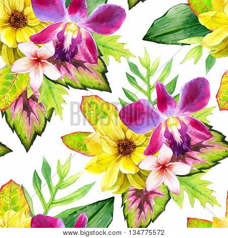 Beautiful bouquet on white background. Composition with lily plumeria dahlia palm and begonia leaves. Botanical illustration.