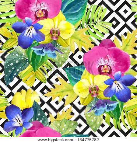 Bouquet with tropical plants on black and white background with geometric pattern. Yellow and pink orchid begonia and palm leaves blue flowers.